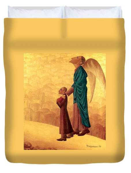 Boy Leading The Blind Angel Duvet Cover