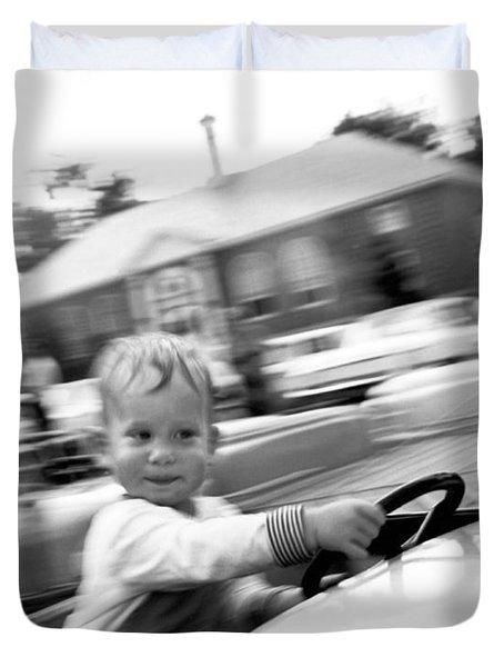 Boy On Ride At World's Fair Duvet Cover