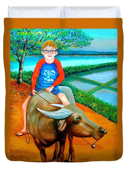 Boy Riding A Carabao Duvet Cover