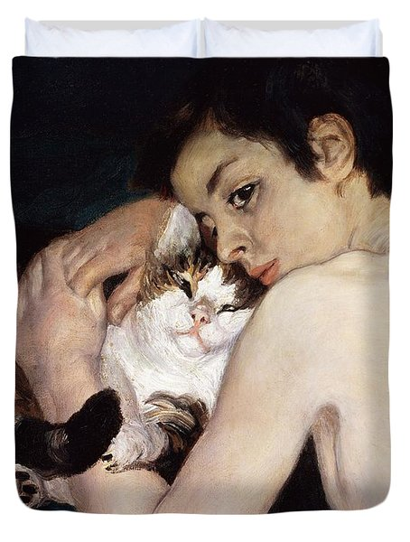 Boy With A Cat Duvet Cover by Pierre-Auguste Renoir