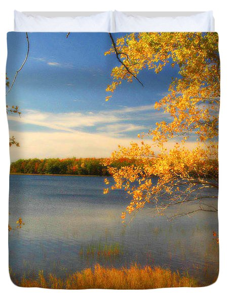 Duvet Cover featuring the photograph Boyden Lake by Alana Ranney