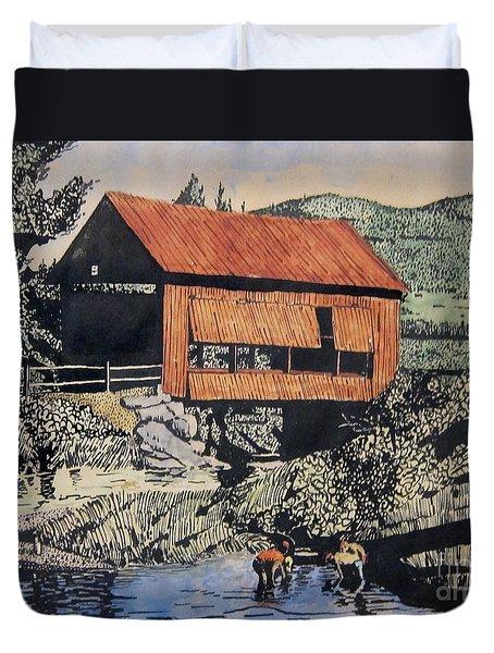 Boys And Covered Bridge Duvet Cover by Joseph Juvenal