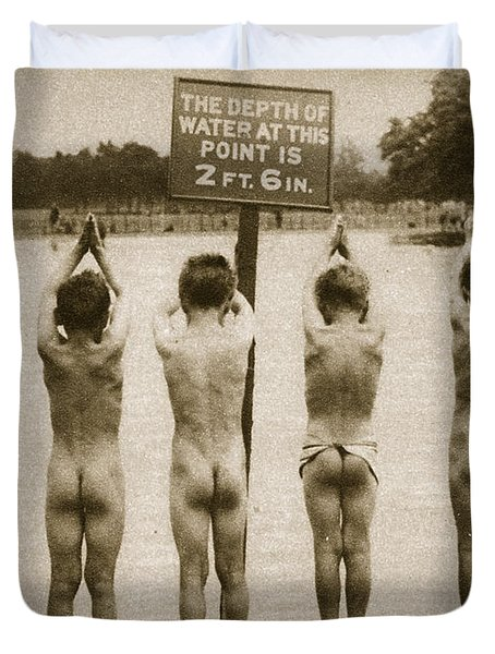 Boys Bathing In The Park Clapham Duvet Cover by English Photographer