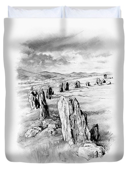 Duvet Cover featuring the drawing Braaid Stone Circle by Paul Davenport