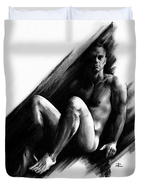 Duvet Cover featuring the drawing Bradley by Paul Davenport