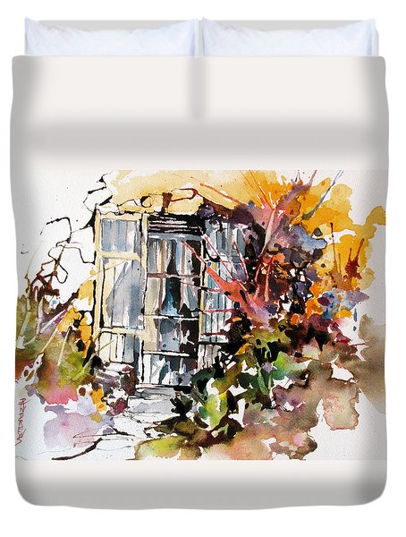 Duvet Cover featuring the painting Brambles by Rae Andrews