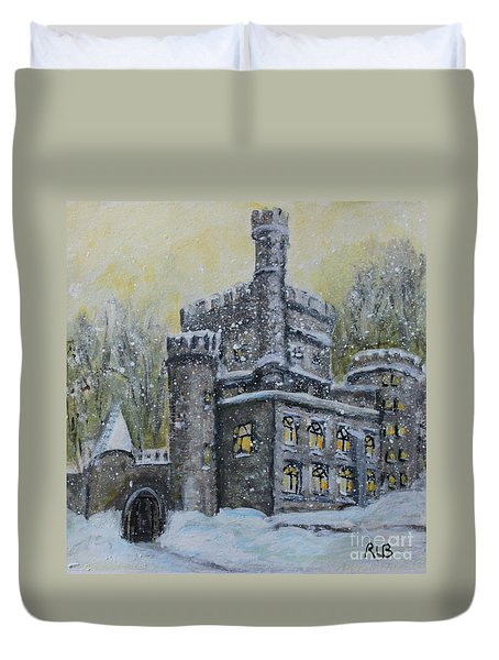 Duvet Cover featuring the painting Brandeis University Castle by Rita Brown