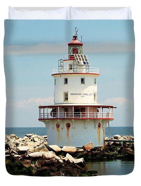 Brandywine Shoal  Lighthouse Duvet Cover by Nick Zelinsky