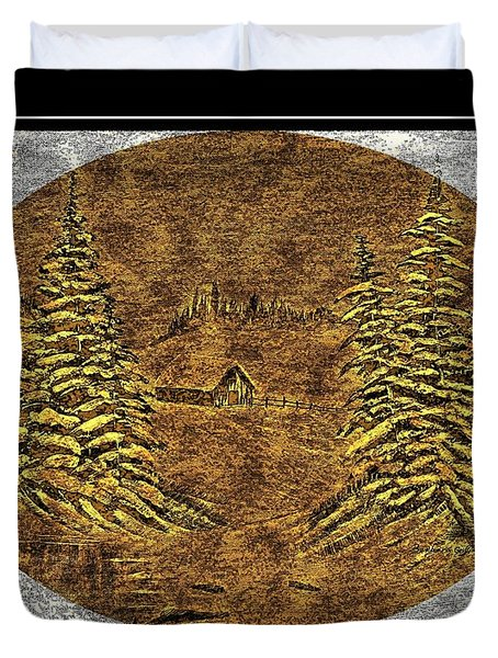 Brass-type Etching - Oval - Cabin Between The Trees Duvet Cover by Barbara Griffin