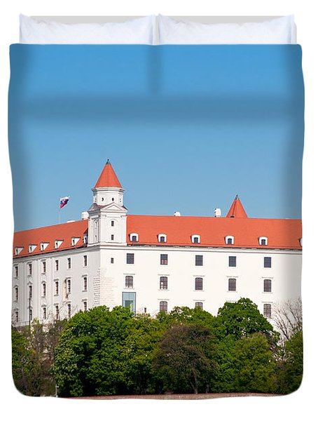 Duvet Cover featuring the photograph Bratislava Castle by Les Palenik