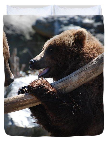 Brawling Bears Duvet Cover by DejaVu Designs