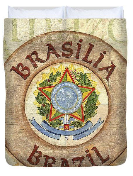 Brazil Coat Of Arms Duvet Cover