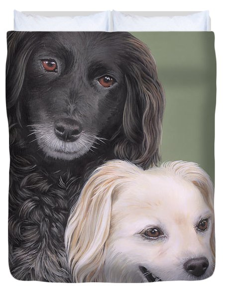 Duvet Cover featuring the painting Brea And Randy by Jane Girardot