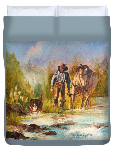 Duvet Cover featuring the painting Break For The Ride by Karen Kennedy Chatham