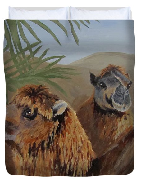 Duvet Cover featuring the painting Break Time by Karen Ilari