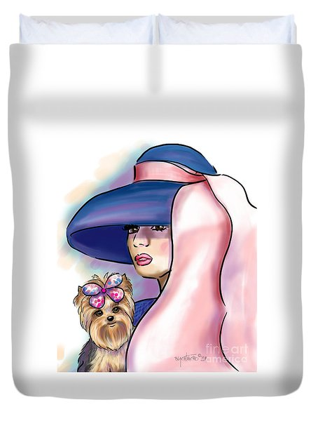 Breakfast With Yorkie Duvet Cover by Catia Cho