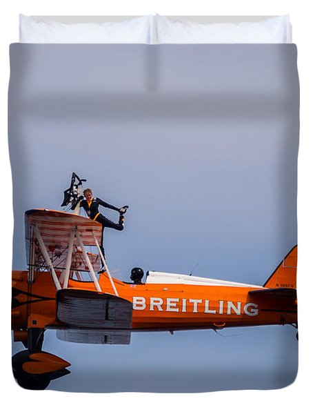 Duvet Cover featuring the photograph Breitling Wingwalker Cockpit Stand by Scott Lyons
