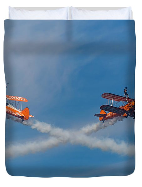 Duvet Cover featuring the photograph Breitling Wingwalkers Cross Sunderland 2014 by Scott Lyons