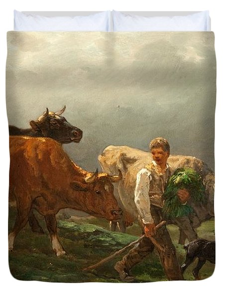 Breton Lad With Cattle Duvet Cover by Julius Caesar Ibbetson