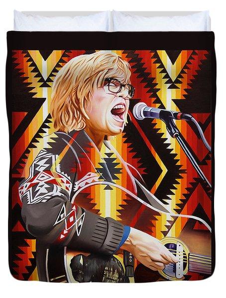 Duvet Cover featuring the painting Brett Dennen by Joshua Morton