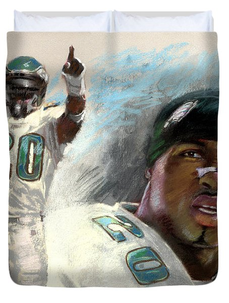 Duvet Cover featuring the drawing Brian Dawkins by Viola El