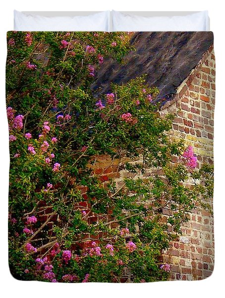Duvet Cover featuring the photograph Brick And Myrtle by Rodney Lee Williams