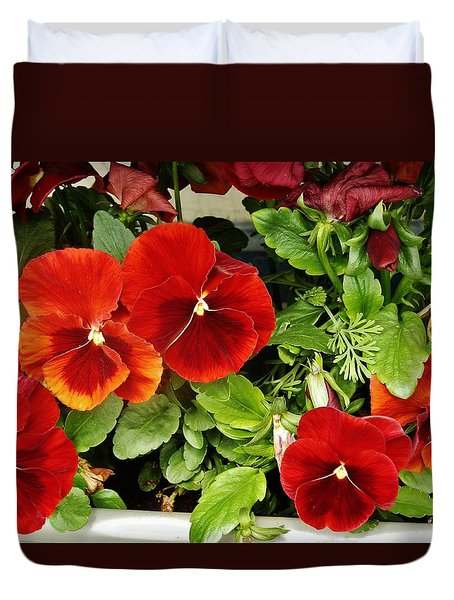Duvet Cover featuring the photograph Brick Pansies by VLee Watson