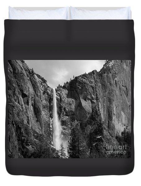 Bridalveil Falls In B And W Duvet Cover by Bill Gallagher