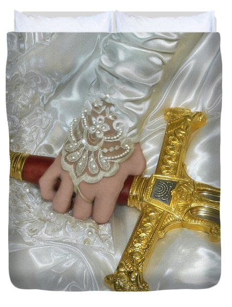 Bride Of Christ Sword Duvet Cover by Constance Woods