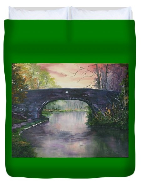 Duvet Cover featuring the painting Bridge 91 At Fradley Canal Staffordshire Uk by Jean Walker