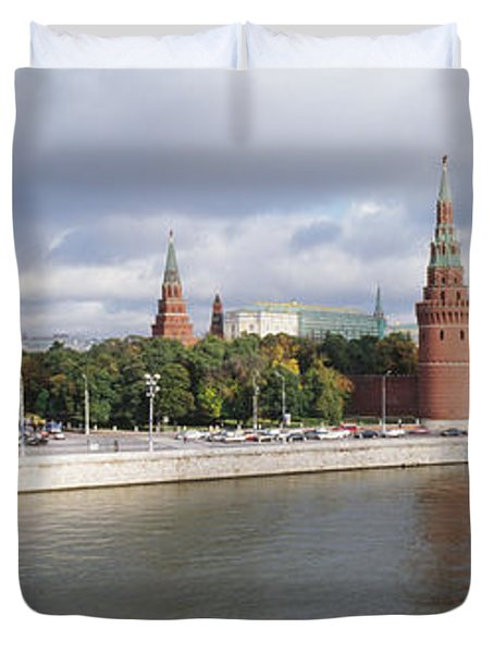 Bridge Across A River, Bolshoy Kamenny Duvet Cover by Panoramic Images