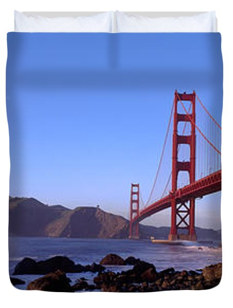 Bridge Across The Bay, San Francisco Duvet Cover by Panoramic Images