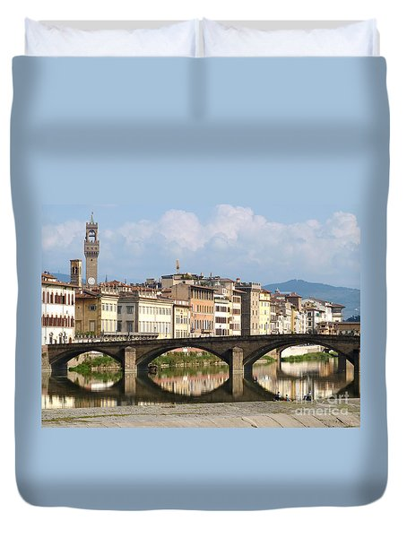 Duvet Cover featuring the photograph Florence - Ponte Alla Carraia by Phil Banks