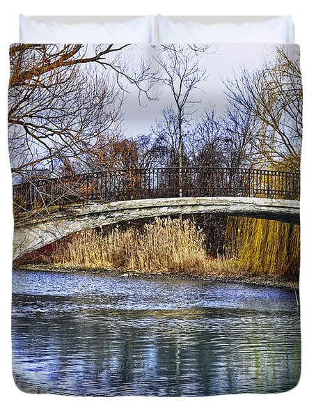 Bridge In The December Sun Duvet Cover by Rodney Campbell