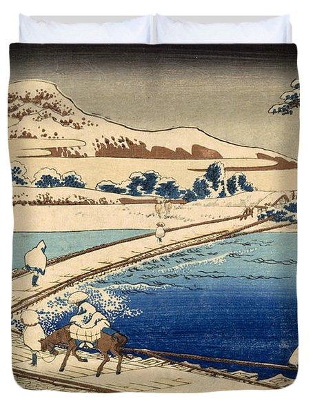 Bridge Of Boats At Sawa Duvet Cover by Hokusai Katasushika