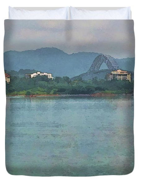 Bridge Of The Americas From Casco Viejo - Panama Duvet Cover