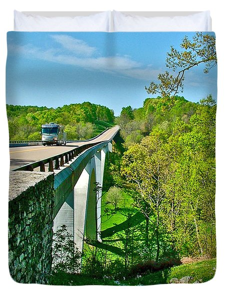 Bridge Over Birdsong Hollow At Mile 438 Of Natchez Trace Parkway-tennessee Duvet Cover by Ruth Hager