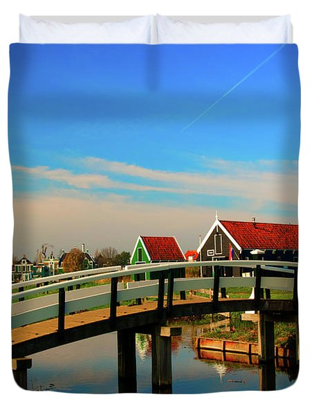 Duvet Cover featuring the photograph Bridge Over Calm Waters by Jonah  Anderson