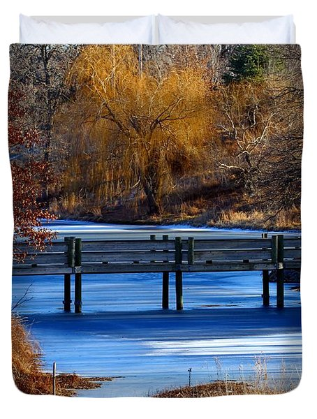 Duvet Cover featuring the photograph Bridge Over Icy Waters by Elizabeth Winter