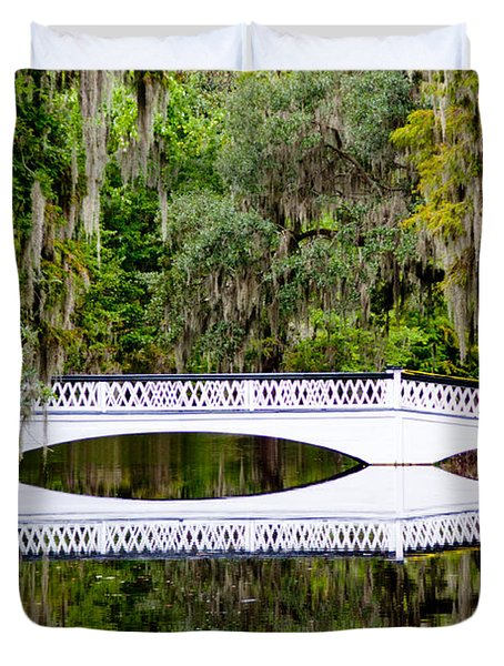 Duvet Cover featuring the photograph Bridge Over Silent Waters by Jean Haynes