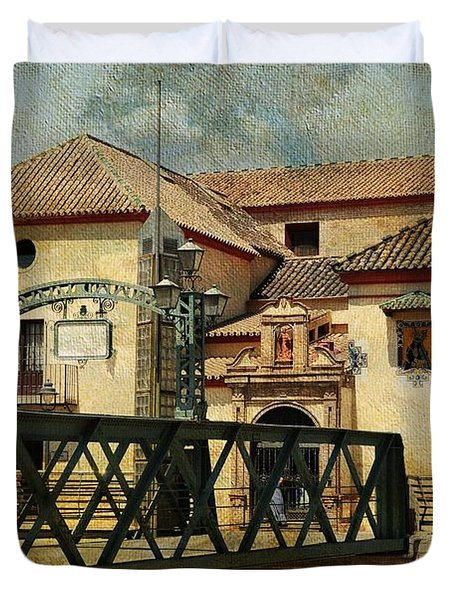 Bridge Over The River Guadalmedina In Malaga I. Spain Duvet Cover by Jenny Rainbow