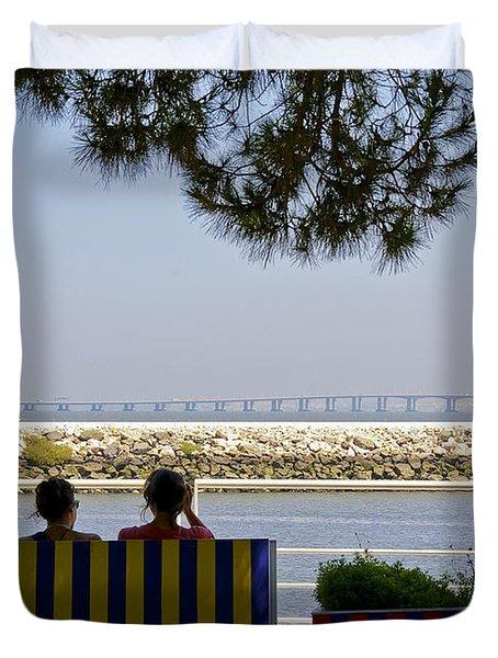 Bridge Over The Tejo River Duvet Cover