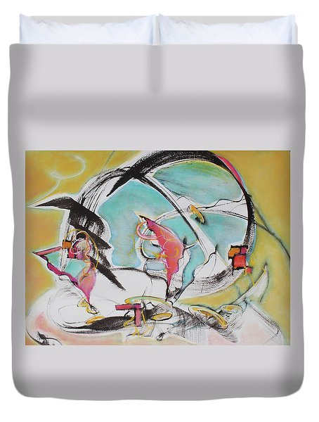 Duvet Cover featuring the painting Bridge Over Water by Asha Carolyn Young