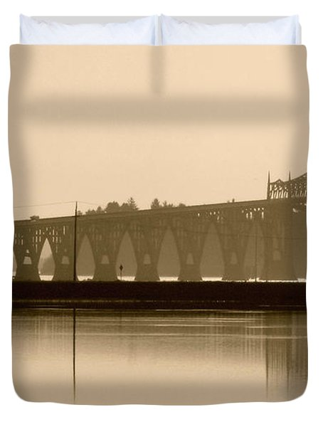 Bridge Reflection In Sepia Duvet Cover