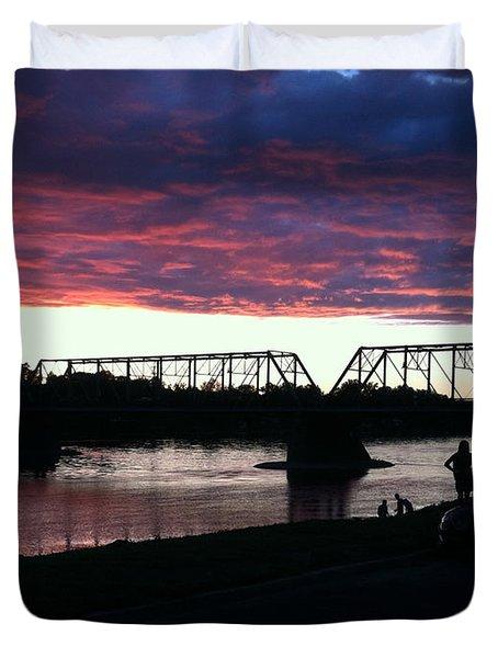 Bridge Sunset In June Duvet Cover