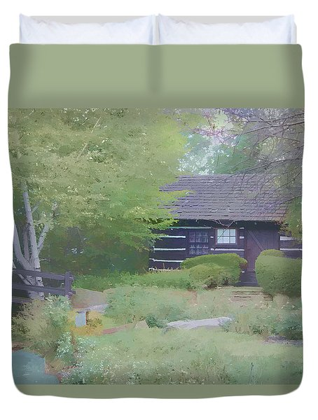 Duvet Cover featuring the painting Bridge To Harmony by Debra     Vatalaro