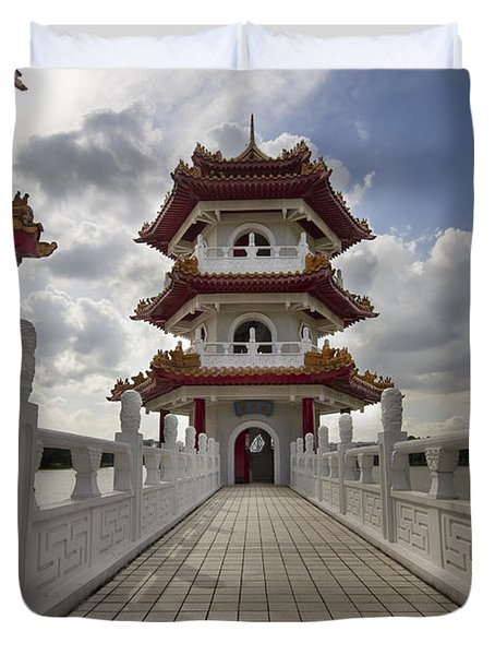 Bridge To Pagoda At Chinese Garden Duvet Cover by David Gn