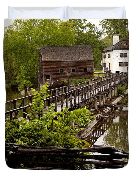 Duvet Cover featuring the photograph Bridge To Philipsburg Manor Mill House by Jerry Cowart