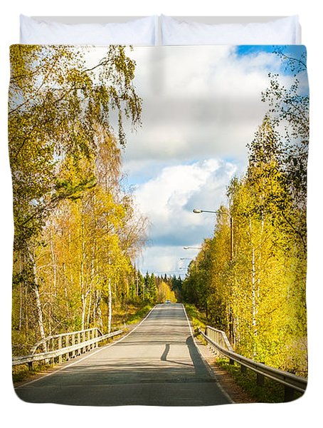 Bridge To Pretty Autumn Day Duvet Cover