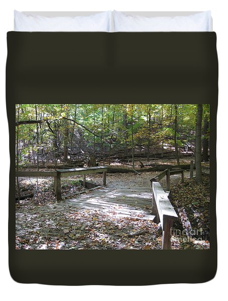 Bridge To The Forest Deep Duvet Cover